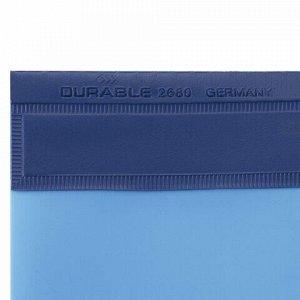 Скоросшиватель пластиковый DURABLE (Германия), А4+ (310х240 мм), 280 мкм, карман для визитки, синий, 2680-06