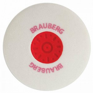 "Ластик BRAUBERG ""Energy"", 30х30х8 мм, белый, круглый, красный пластиковый держатель, 222472"