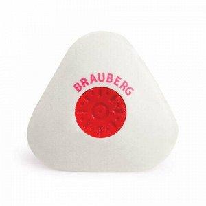 "Ластик BRAUBERG ""Energy"", 45х45х10 мм, белый, треугольный, красный пластиковый держатель, 222473"