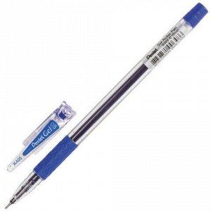 Ручка гелевая с грипом PENTEL (Япония), СИНЯЯ, корпус прозрачный, узел 0,5 мм, линия письма 0,25 мм, K405-CN
