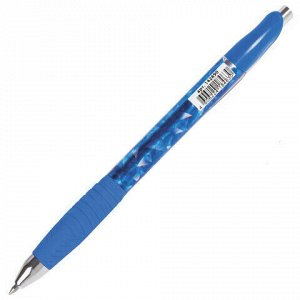 """Ручка гелевая автоматическая с грипом BRAUBERG """"Jet Gel"""", СИНЯЯ, печать, узел 0,6 мм, линия письма 0,4 мм, 142690"""