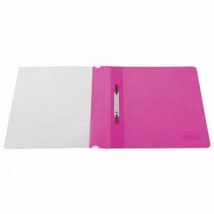 Скоросшиватель пластиковый BRAUBERG, А4, 130/180 мкм, розовый, 228672