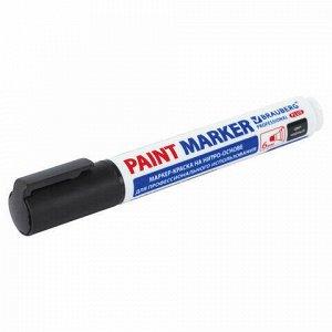 Маркер-краска лаковый (paint marker) 6 мм, ЧЕРНЫЙ, НИТРО-ОСНОВА, BRAUBERG PROFESSIONAL PLUS EXTRA, 151451