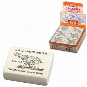 "Ластик KOH-I-NOOR ""Слон"" 300/12, 48х37х16 мм, белый, прямоугольный, натуральный каучук, 0300012002KDRU"