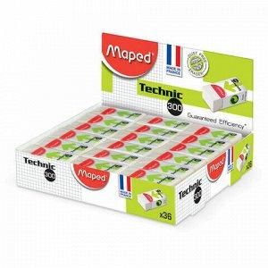 "Ластик MAPED (Франция) ""Technic Mini"", 39х18х12,3 мм, белый, прямоугольный, картонный держатель, 011301"