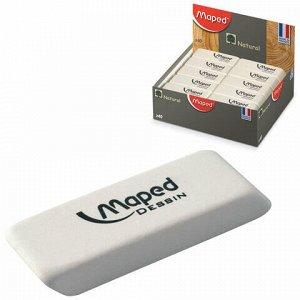 "Ластик MAPED (Франция) ""Dessin"", 50х18х10 мм, белый, прямоугольный, скошенные края, натуральный каучук, 010013"