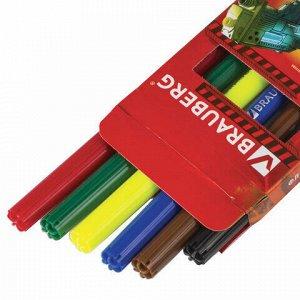 """Фломастеры BRAUBERG """"Star Patrol"""", 6 цветов, вентилируемый колпачок, картонная упаковка, увеличенный срок службы, 150543"""