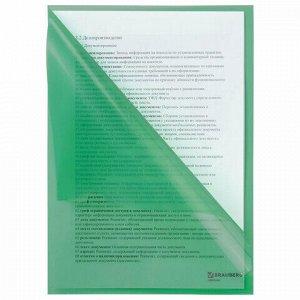 Папка-уголок BRAUBERG, зеленая, 0,10 мм, 223965
