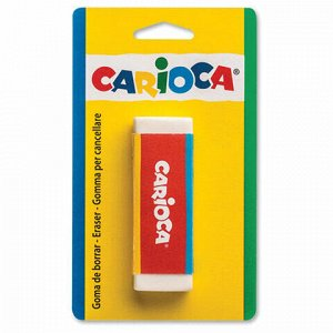 Ластик большой CARIOCA (Италия), 63х23х10 мм, белый, прямоугольный, натуральный каучук, картонный держатель, блистер, 40141