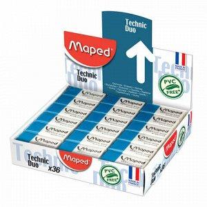 "Ластик MAPED (Франция) ""Technic Duo"", 39х17,6х12,1 мм, бело-синий, прямоугольный, 511710"