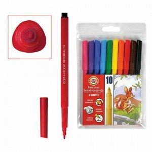 Фломастеры KOH-I-NOOR, 10 цветов, смываемые, трехгранные, пластиковая упаковка, европодвес, 771002AJ04TERU