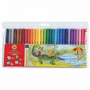 Фломастеры KOH-I-NOOR, 30 цветов, смываемые, трехгранные, пластиковая упаковка, европодвес, 771002CJ04TERU