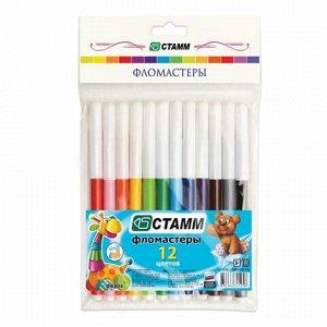 """Фломастеры СТАММ """"Веселые игрушки"""", 12 цветов, вентилируемый колпачок, европодвес, ФВ404"""