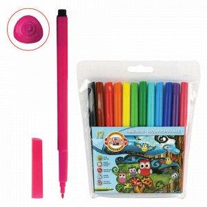 """Фломастеры KOH-I-NOOR """"Совы"""", 12 цветов, смываемые, трехгранные, пластиковая упаковка, европодвес, 771012AB01TE"""