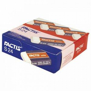 Ластик FACTIS Softer S 24 (Испания), 50х24х10 мм, белый, прямоугольный, картонный держатель, CMFS24, CNFS24