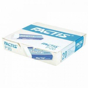 Ластик большой FACTIS Plastic P 20 (Испания), 61х22х11 мм, белый, прямоугольный, мягкий, CPFP20