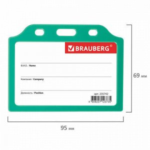 Бейдж горизонтальный жесткокаркасный (55х85 мм), без держателя, ЗЕЛЕНЫЙ, BRAUBERG, 235742