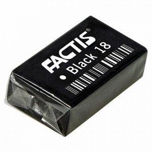 Ластик FACTIS Black 18 (Испания), 41х24х13 мм, черный, прямоугольный, супермягкий, CPFBL18