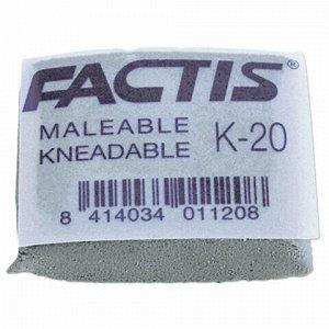 Ластик-клячка FACTIS K 20 (Испания), 37х29х10 мм, серый, прямоугольный, супермягкий, натуральный каучук, CCFK20