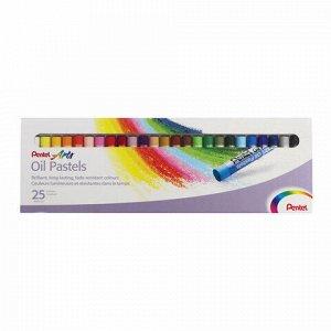 """Пастель масляная художественная PENTEL """"Oil Pastels"""", 25 цветов, круглое сечение, картонная упаковка, PHN4-25"""