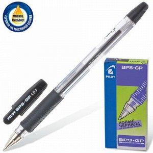 """Ручка шариковая масляная с грипом PILOT """"BPS-GP"""", ЧЕРНАЯ, корпус прозрачный, узел 0,7 мм, линия письма 0,32 мм, BPS-GP-F, BРS-GP-F"""
