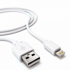 Зарядное устройство сетевое (220 В) RED LINE ТС-1A, кабель для IPhone (iPad) 1 м, 1 порт USB, выходной ток 1 А, белое, УТ000012251