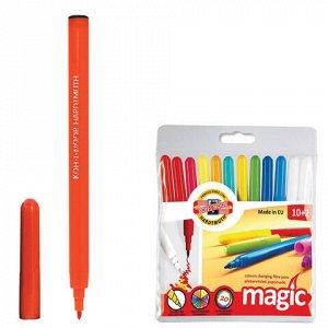 """Фломастеры KOH-I-NOOR """"Magic"""", 12 шт., 10 цветов + 2 перекрашивающих, смываемые, пластиковая упаковка, подвес, 771612AB01TE"""