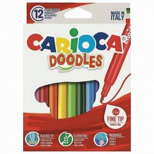 """Фломастеры CARIOCA (Италия) """"Doodles"""", 12 цветов, суперсмываемые, 42314"""
