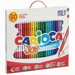 """Фломастеры CARIOCA (Италия) """"Joy"""", 60 шт., 30 цветов, суперсмываемые, картонная коробка с ручкой, 41015"""