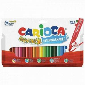 """Фломастеры утолщенные CARIOCA (Италия) """"Bravo"""", 24 цвета, суперсмываемые, 42763"""
