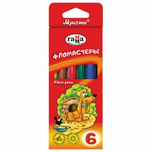 """Фломастеры ГАММА """"Мультики"""", 6 цветов, вентилируемый колпачок, картонная упаковка, 180319_03"""