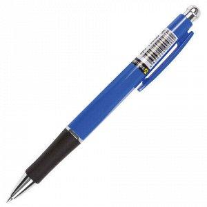 """Ручка шариковая автоматическая с грипом BRAUBERG """"Fast"""", СИНЯЯ, корпус синий, узел 0,7 мм, линия письма 0,35 мм, 140589"""