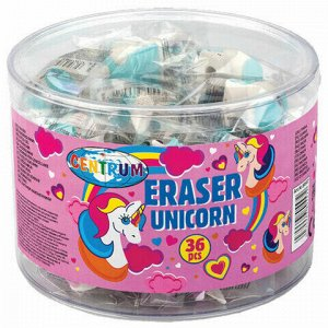 "Ластик-насадка на карандаш CENTRUM ""Unicorn"", 21х30х37 мм, пластиковая туба, 80557"