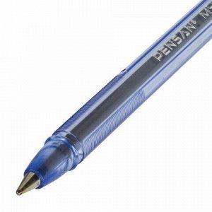 """Ручка шариковая масляная PENSAN """"My-Pen"""", СИНЯЯ, корпус тонированный синий, узел 1 мм, линия письма 0,5 мм, 2210"""