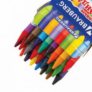 Восковые карандаши BRAUBERG/ПИФАГОР, 24 цвета, 222964
