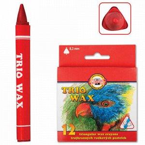 """Восковые мелки KOH-I-NOOR """"Trio Wax"""", 12 цветов, трехгранные, картонная упаковка с европодвесом, 8272012001KS"""