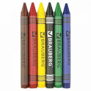 "Восковые карандаши BRAUBERG ""АКАДЕМИЯ"", НАБОР 6 цветов, 227282"