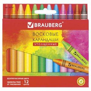 """Восковые карандаши утолщенные BRAUBERG """"АКАДЕМИЯ"""", НАБОР 12 цветов, 227287"""