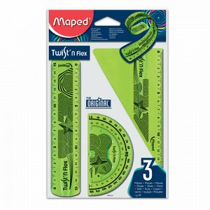 """Набор чертежный малый MAPED """"Twist'n Flex"""" (линейка 15 см, угольник, транспортир), гибкий, ассорти, подвес, 895024"""