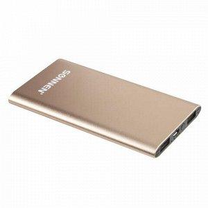 Аккумулятор внешний SONNEN POWERBANK V311, 4000 mAh, литий-полимерный, золотистый, алюминиевый корпус, 262750
