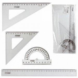 Набор чертежный большой СТАММ (линейка 30 см, 2 угольника, транспортир), прозрачный, НГ15