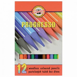 """Карандаши цветные художественные KOH-I-NOOR """"Progresso"""", 12 цветов, 7,1 мм, в лаке, без дерева, заточенные, 8756012007PZ"""