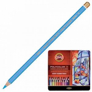 """Карандаши цветные художественные KOH-I-NOOR """"Polycolor"""", 24 цвета, 3,8 мм, металлическая коробка, 3824024002PL"""