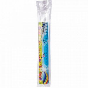 """Линейка пластиковая 20 см, СТАММ """"Радуга"""", широкая, с рисунком, ЛН139"""