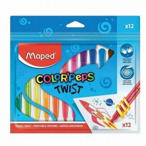 """Восковые мелки MAPED (Франция) """"Color'peps Twist"""", 12 цветов, выкручивающиеся в пластиковом корпусе, 860612"""