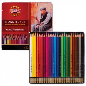 """Карандаши цветные акварельные художественные KOH-I-NOOR """"Mondeluz"""", 24 цвета, 3,8 мм, заточенные, металлическая коробка, 3724024001PL"""