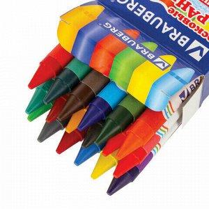 Восковые карандаши утолщенные BRAUBERG/ПИФАГОР, 18 цветов, 222967