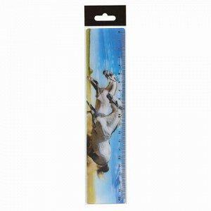 """Линейка 3D, 20 см, BRAUBERG, объемная, """"Белые кони"""", европодвес, 210569"""