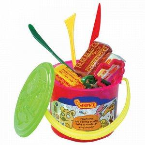 Пластилин JOVI (Испания), набор, 6 цветов, 300 г, 3 формочки, 3 стека, клеенка, пластиковое ведро, 14