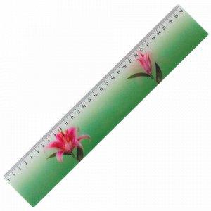 """Линейка 3D, 30 см, BRAUBERG, эффект движения, """"Удивительный цветок"""", европодвес, 210581"""